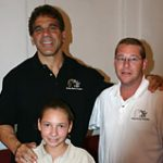 Bodybuilding champion and actor Lou Ferrigno pals around with Krysta and David Carr.
